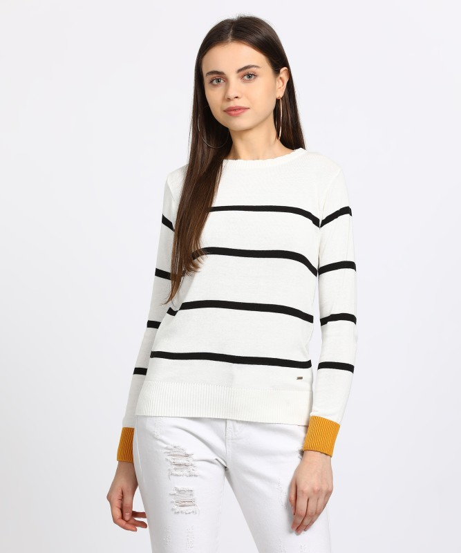 People Striped Round Neck Casual Women's White Sweater
