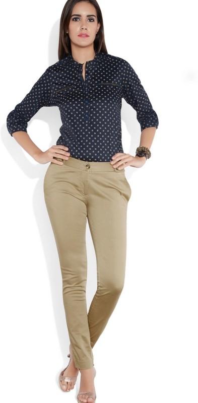 Park Avenue Skinny Fit Women Beige Trousers