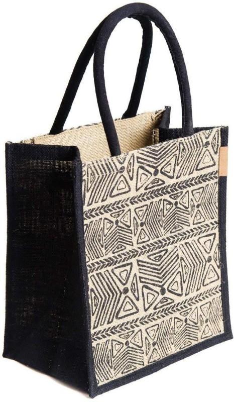H&B Jute Bag Waterproof Lunch Bag(Black, 5 L)