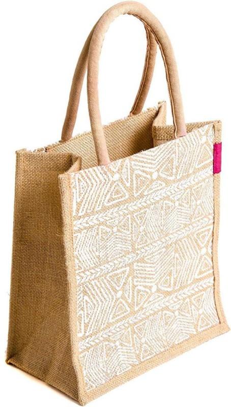 H&B Jute Bag03 Waterproof Lunch Bag(White, 5 L)