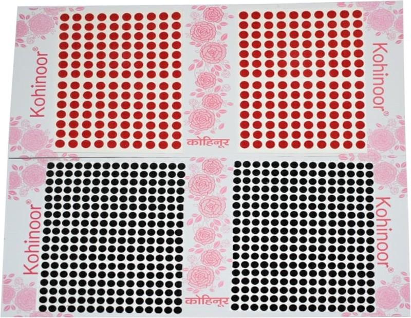 Kohinoor Round Bindi For Woman Red, Black Bindis(Stick On)