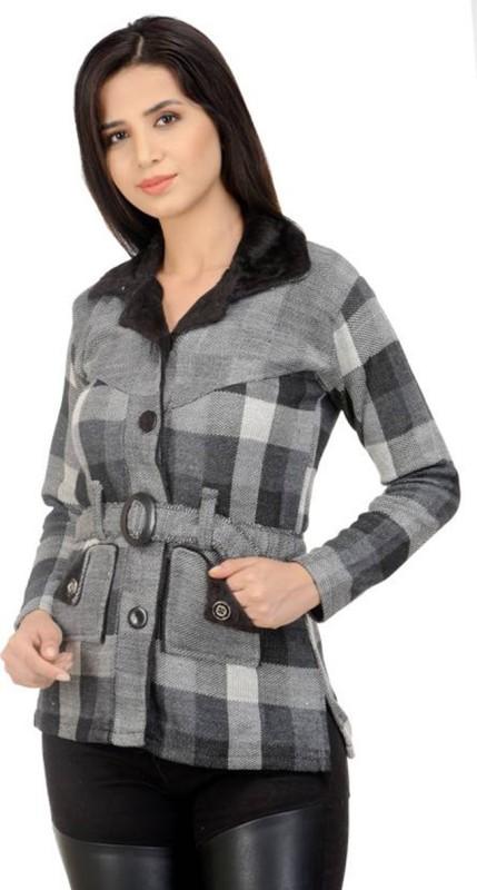 Christy World Women Button Checkered Cardigan