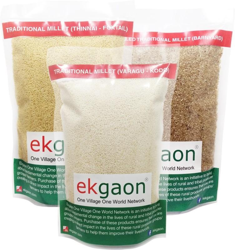 Ekgaon Healthy Traditional Millets Combo 3(Kodo Millet 500g, Foxtail Millet(Thinai) 500g ,Barnyard Millet 500g) Combo(0.5, 0.5, 0.5)