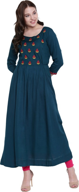 Gulmohar Jaipur Women Embroidered Flared Kurta(Dark Blue)