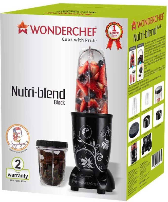 Wonderchef Present Nutri blend Black color Comes with 2 interchangeable jars (Long Jar-500ml & Short Jar- 300ml) and 2 separate blades (Grinding Blade & Blending Blade) 400 Juicer Mixer Grinder(Black, 2 Jars)