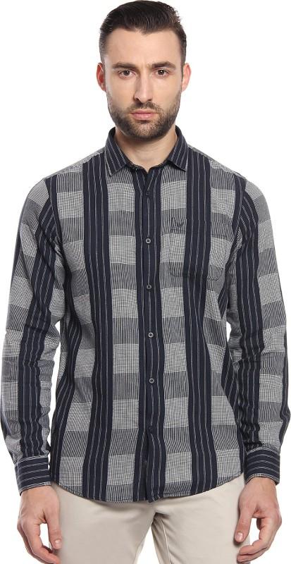 Blackberrys Men Checkered, Self Design Casual Silver, Black Shirt