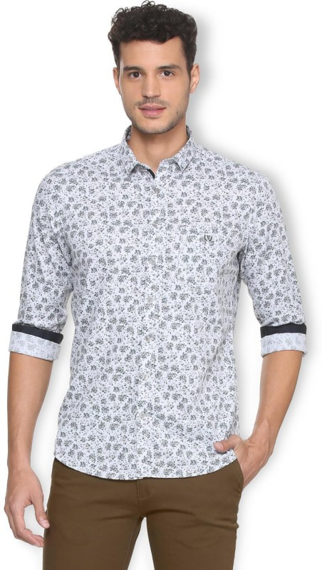 Van Heusen Men Floral Print Casual White Shirt