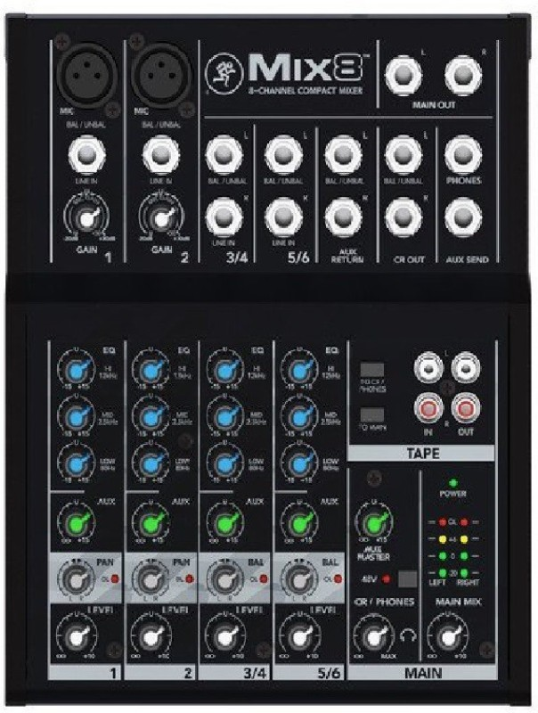 Mackie Mix 8 Channel Compact Mixer Analog Sound Mixer