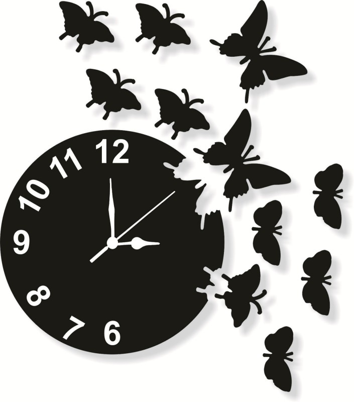 Enamiss decor Analog 23 cm X 23 cm Wall Clock(Black, Without Glass)