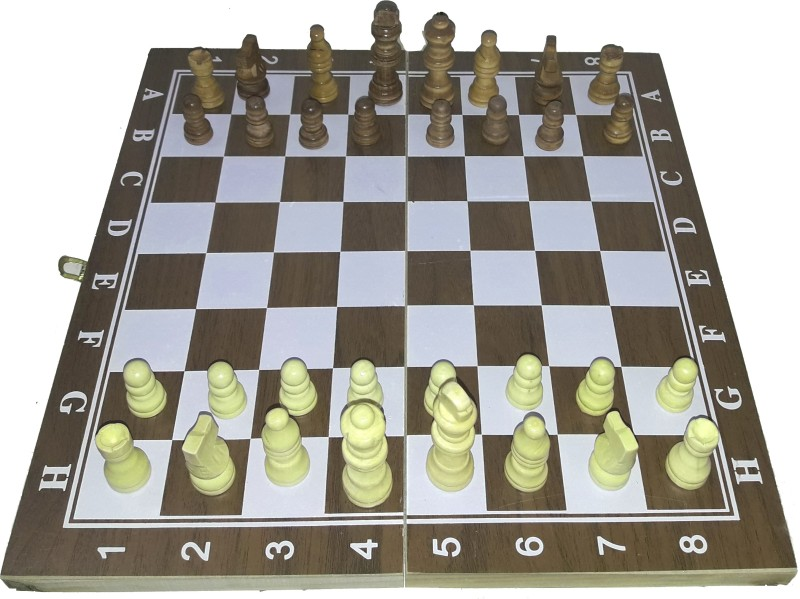 ME 12 inch Wooden Folding Chess Board With Wooden Coins For Men Women 12 inch Chess Board(Multicolor)