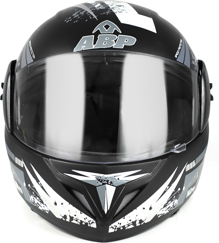 ABP NITRO Full Face ISI Mark Full Print Motorbike Helmet Motorbike Helmet(Black, Grey)
