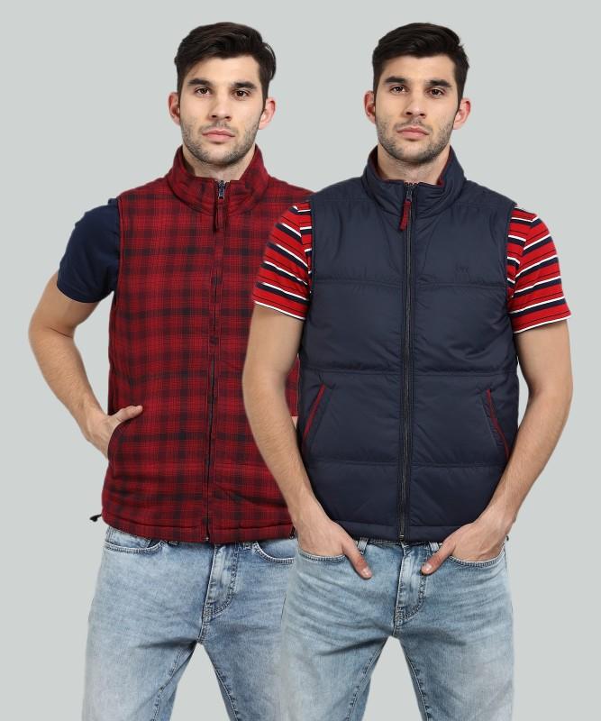 Lee Sleeveless Solid, Checkered Mens Jacket
