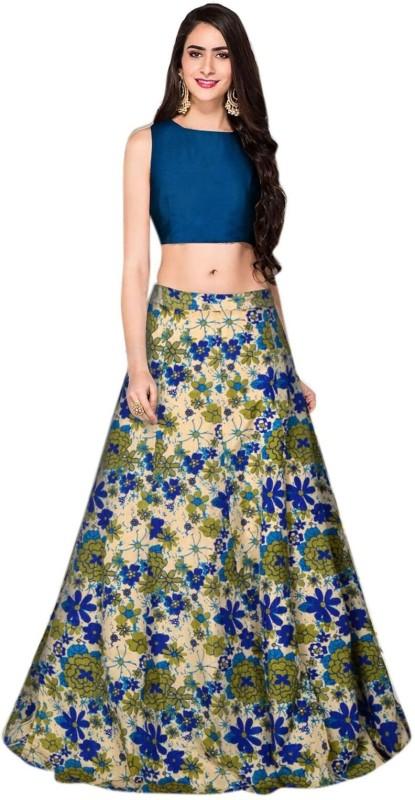 MINIFLY Floral Print Unstitched Lehenga Choli(Blue)