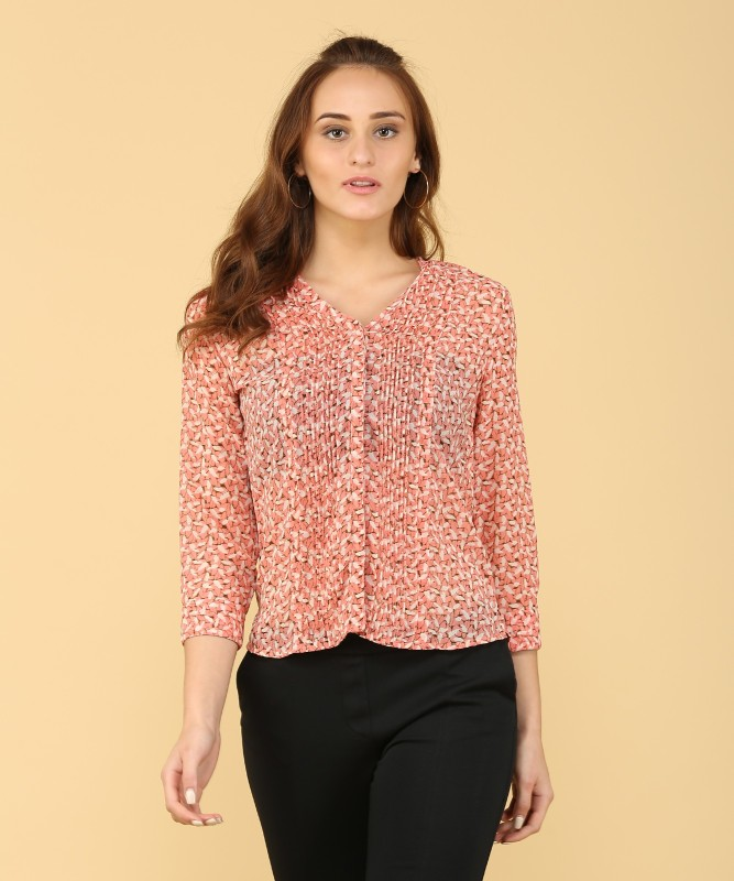 Arrow Womens Printed Casual Pink Shirt