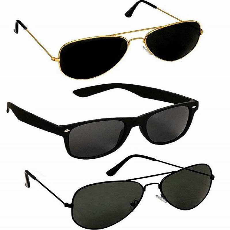shaad Wayfarer, Aviator, Aviator Sunglasses(Black, Black, Black) image