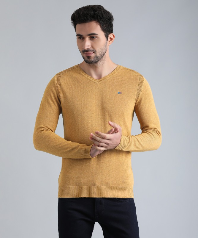 Fort Collins Solid V-neck Casual Mens Beige Sweater