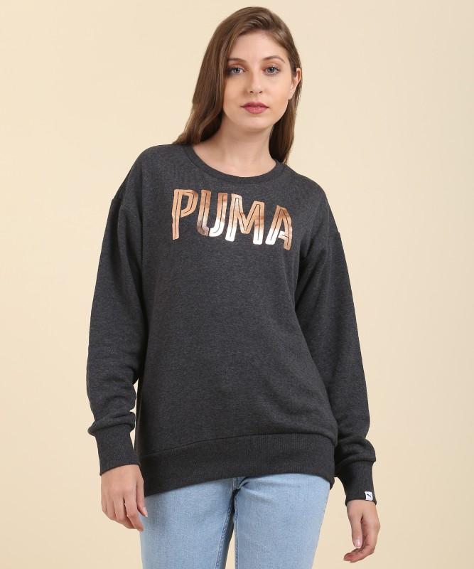 Puma Full Sleeve Solid, Embellished Women Sweatshirt