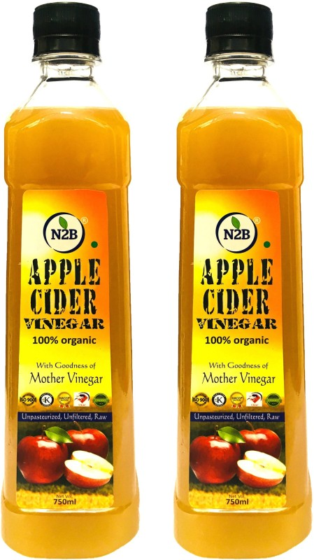 N2B APPLE CIDER VINEGAR ORGANIC UNPASTEURIZED UNFILTERED & RAW WITH STRAND OF MOTHER NOT FROM CONCENTRATE 750ml PACK OF 2 Vinegar(1500 ml, Pack of  2)