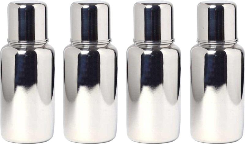 kuber industries Stainless Steel Small Baby Feeding Bottle 250 Ml (Silver) Set of 4 Pcs - 250 ml(Silver)