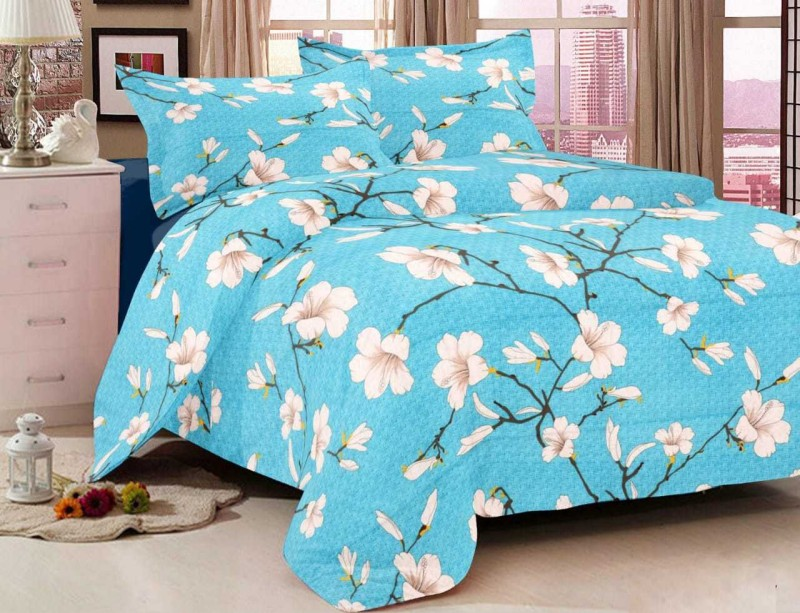 The Intellect Bazaar 144 TC Cotton Double Floral Bedsheet(Pack of 1, Sky Blue)