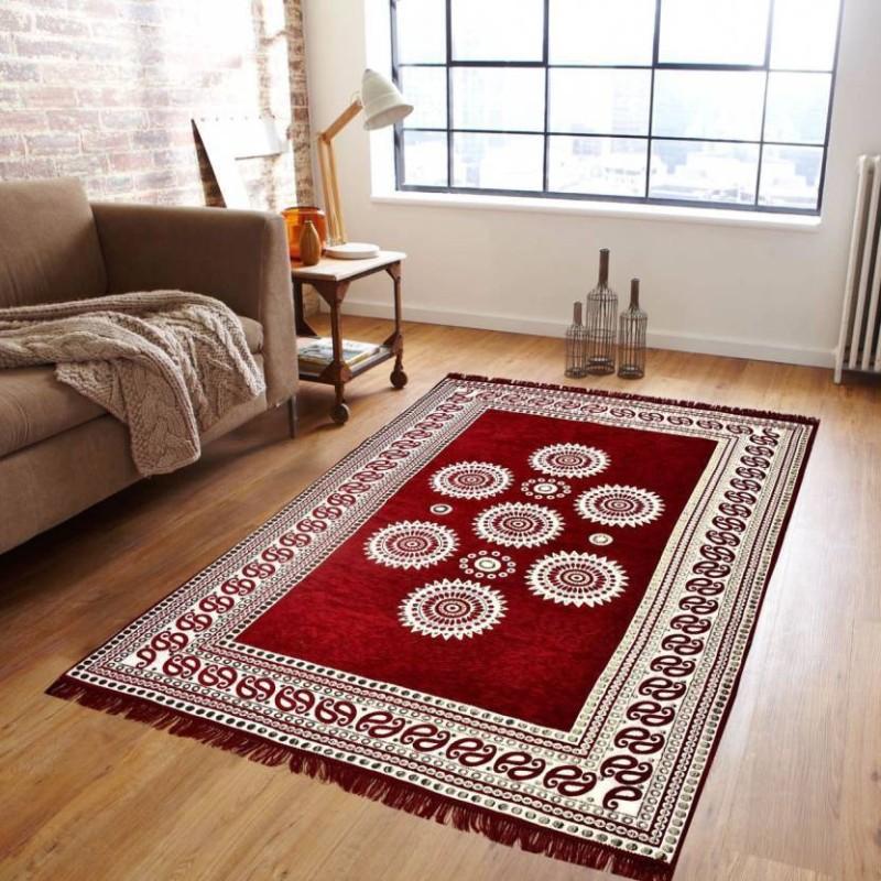 Aastha Maroon Chenille Carpet(150 X 205)