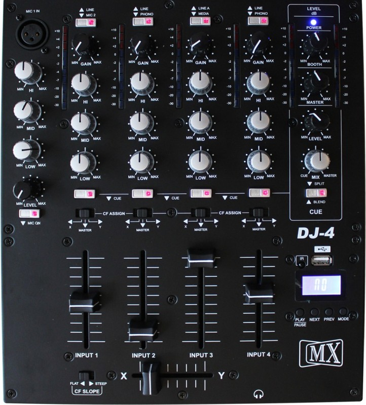 MX Professional Four 4 Channel Dj Mixing Console Mixer W/ Usb & Audio Outputs For Use With Your Headphones Wired DJ Controller