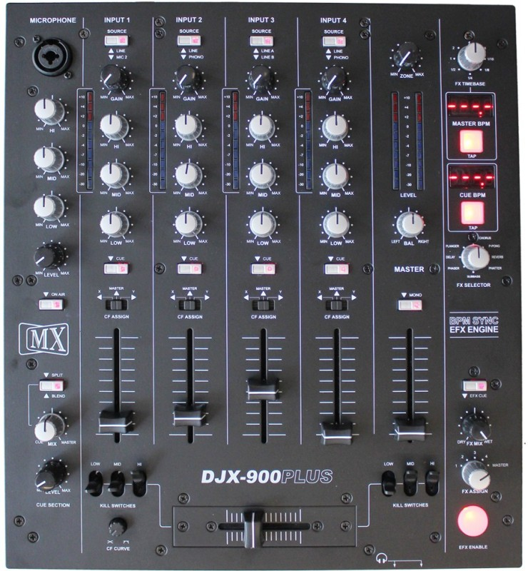 MX Pro Mixer DJX750 Professional 5 Five Channel DJ Mixer with Advanced Digital Effects and BPM Counter Wired DJ Controller