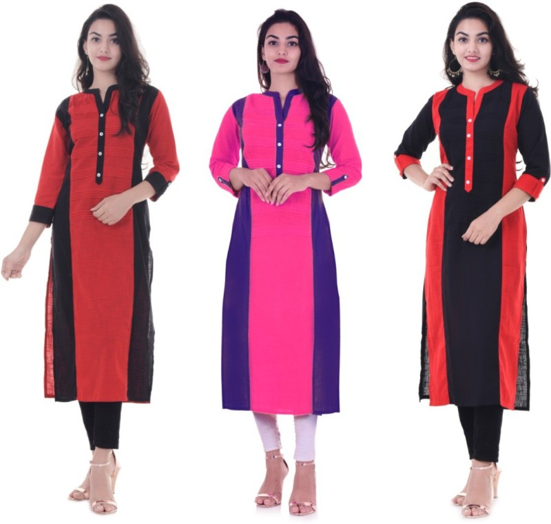 Blinkstar Women Self Design Straight Kurta(Red, Pink, Black)
