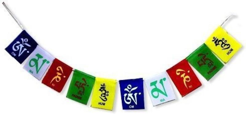 7 Ocean Tibetien Om Mani Flag Car And Bike Hanging Decorative Showpiece - 9 cm(Fabric, Multicolor)