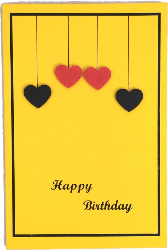 archivearea HANDMADE BIRTHDAY 3D GREETING CARD Greeting Card(Yellow, Black, Pack of 1)