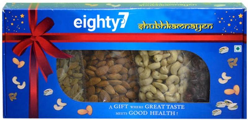 Eighty7 Gold Dry Fruits Gift Box Combo(1pcs Californian Almonds 150g-1pcs Cashewnuts 150g-1pcs Green Raisins 150g-1pcs Cranberries 150g)