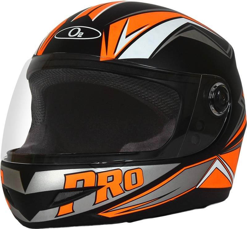 O2 Max Pro Orange Graphic With Clear Poly Carbonate Visor Motorbike Helmet(Black)