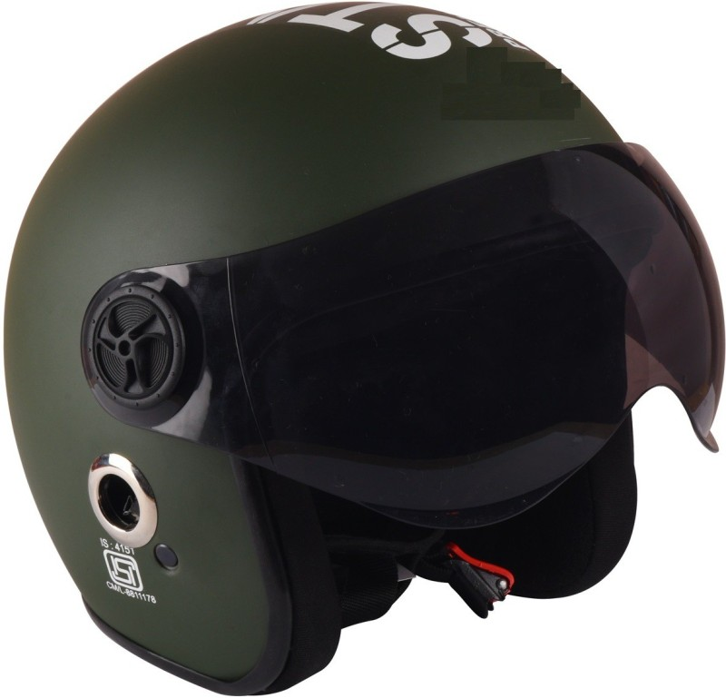 O2 Matte Green Open Face Star1969 With Tinted Poly Carbonate Visor Motorbike Helmet(Matte Green)
