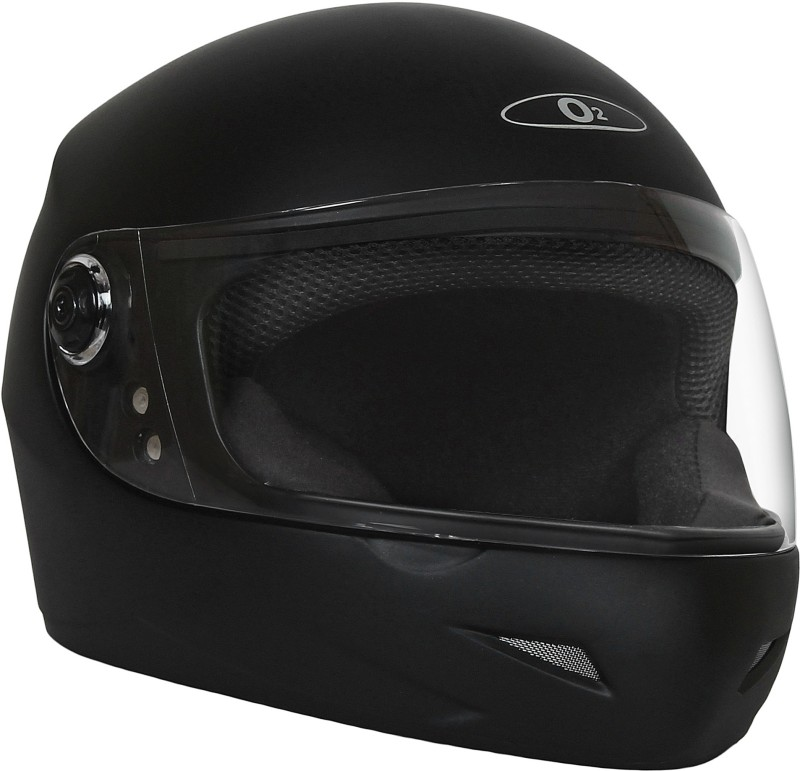 O2 MAX PRO MATTE BLACK WITH CLEAR POLY CARBONATE VISOR Motorbike Helmet(Black)