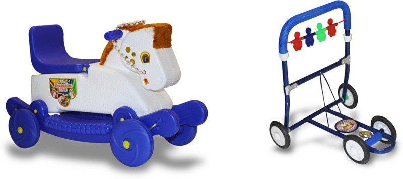 Mofaro LATEST KIDS ROCKING HORSE WITH MUSICAL WALKER (COMBO PACK)(Blue)