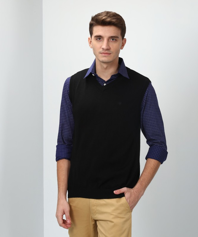 Louis Philippe Solid V-neck Casual Mens Black Sweater