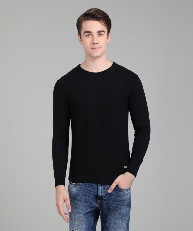 Numero Uno Self Design Crew Neck Casual Mens Black Sweater