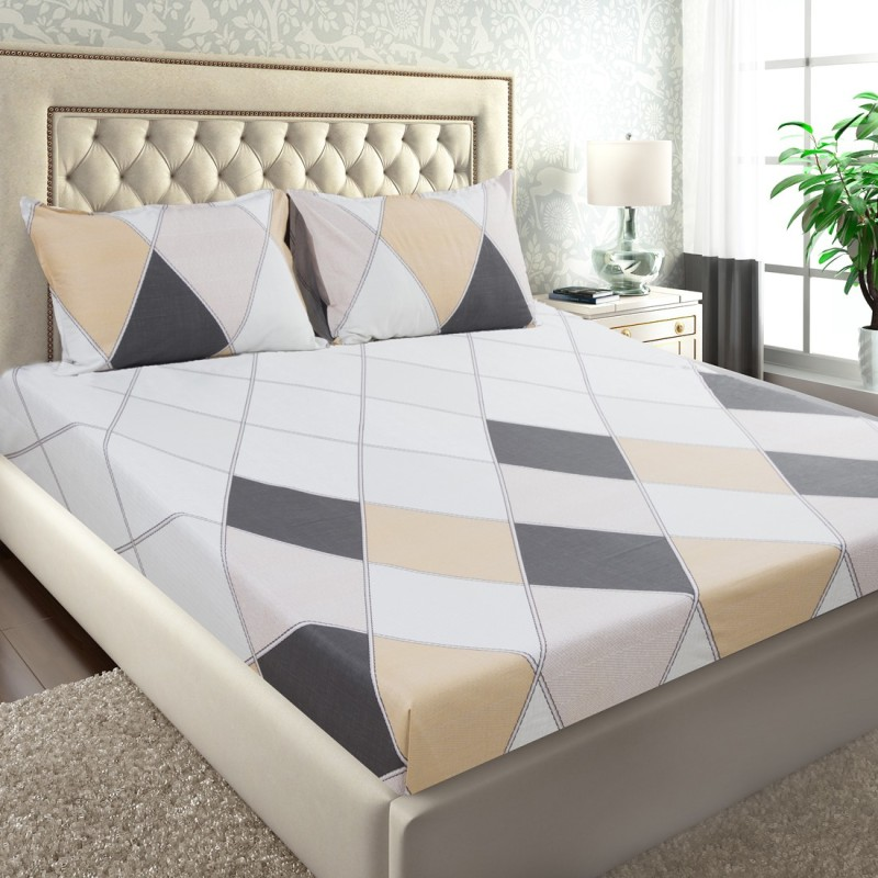 Maspar by Inhouse collection 210 TC Cotton Double Geometric Bedsheet(Pack of 1, Gold)