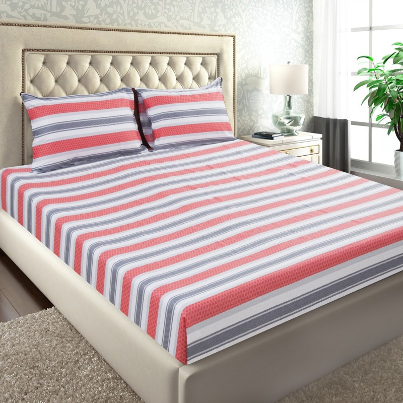 Maspar by Inhouse collection 210 TC Cotton Double Striped Bedsheet(Pack of 1, Red)