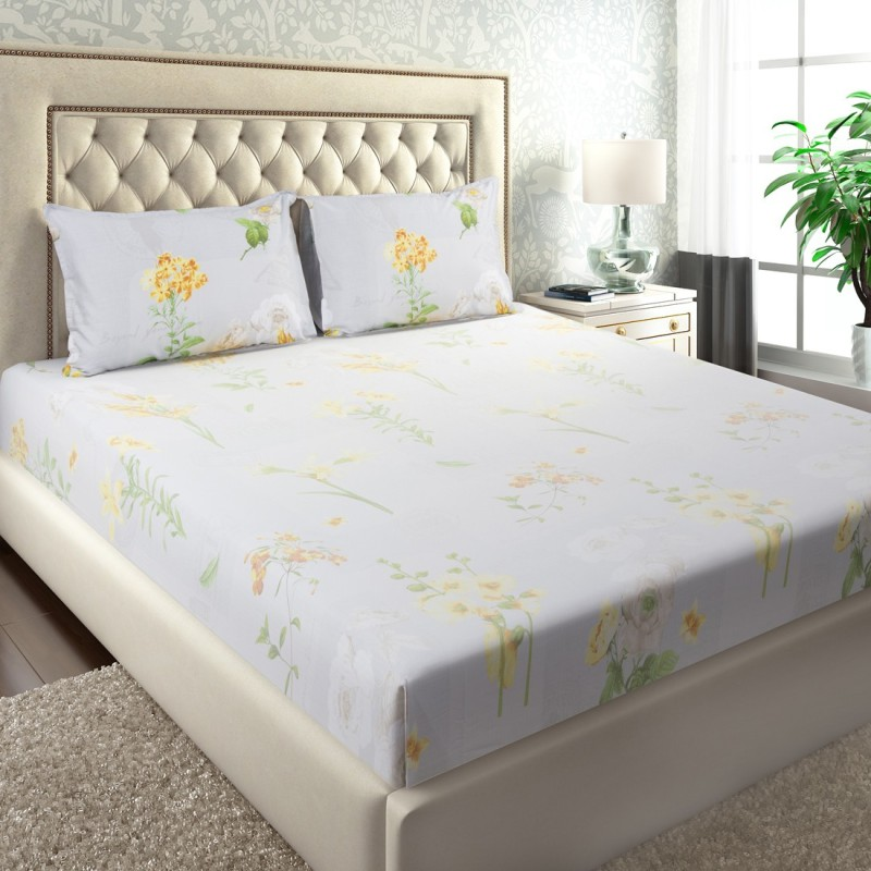 Maspar by Inhouse collection 210 TC Cotton Double Floral Bedsheet(Pack of 1, Green)