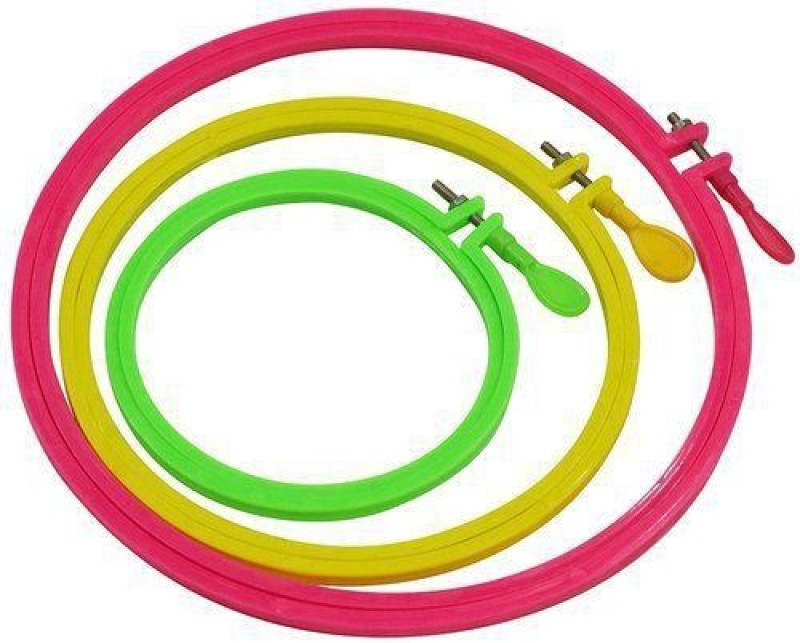 AsianHobbyCrafts Plastic Fabric Embroidery Hoop Ring Frame : Set of 3pcs Embroidery Frame(Pack of 3)