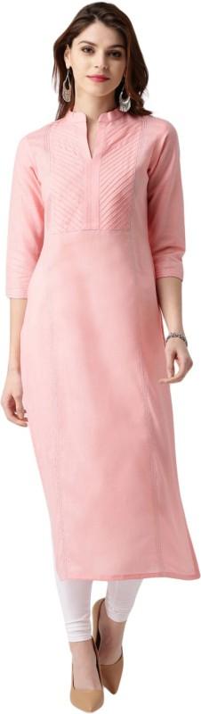 Libas Women Solid Straight Kurta(Pink)