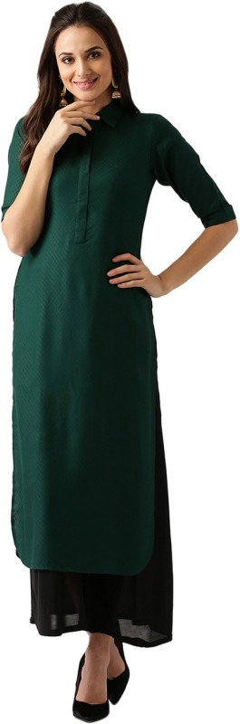 Libas Women Solid Pathani Kurta(Dark Green)