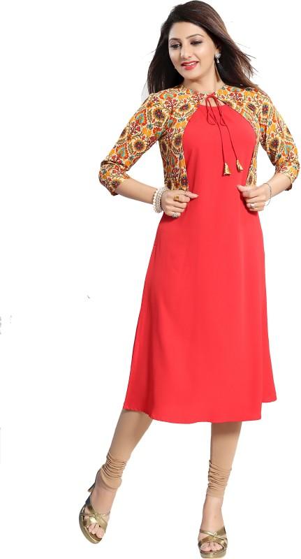 ALC Creations Women Printed Straight Kurta(Red)