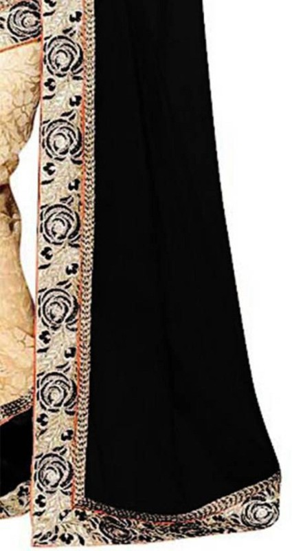 SNH Export Solid Bollywood Georgette Saree(Black)