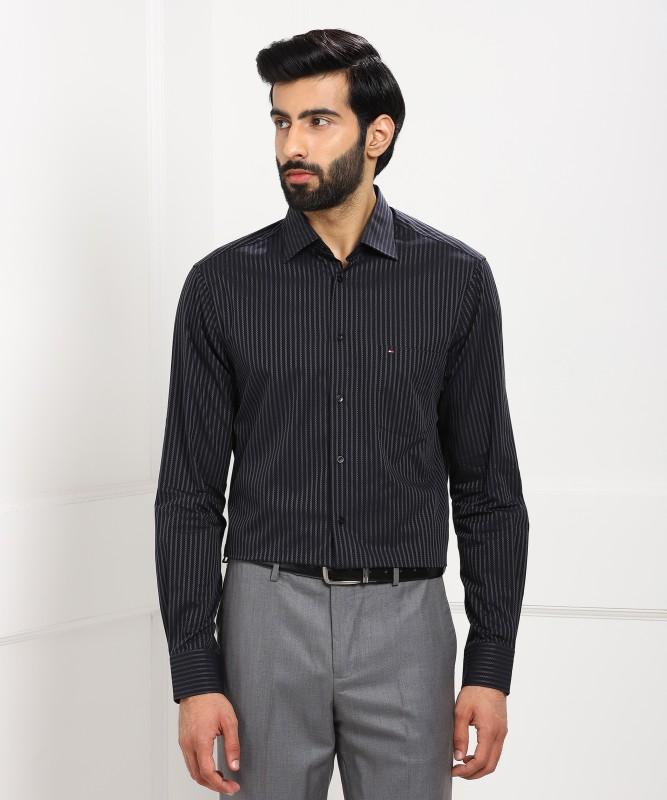 Tommy Hilfiger Mens Striped Casual Black Shirt