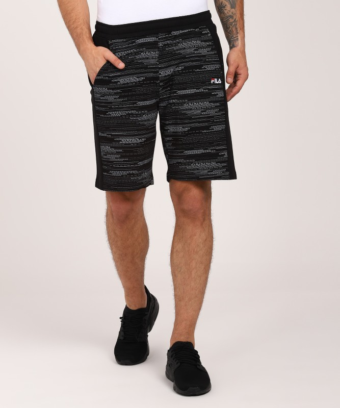 Fila Printed Men Black Sports Shorts