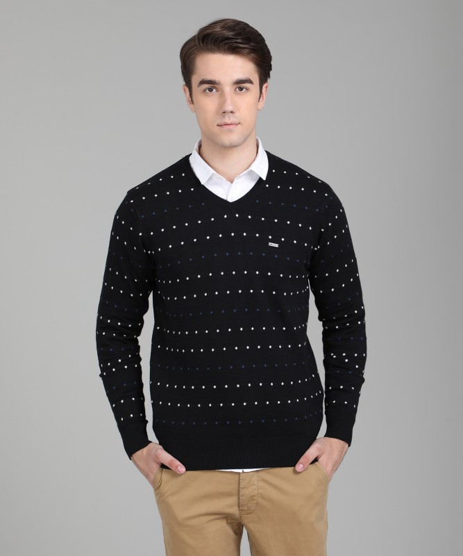 Numero Uno Self Design V-neck Casual Mens Black Sweater