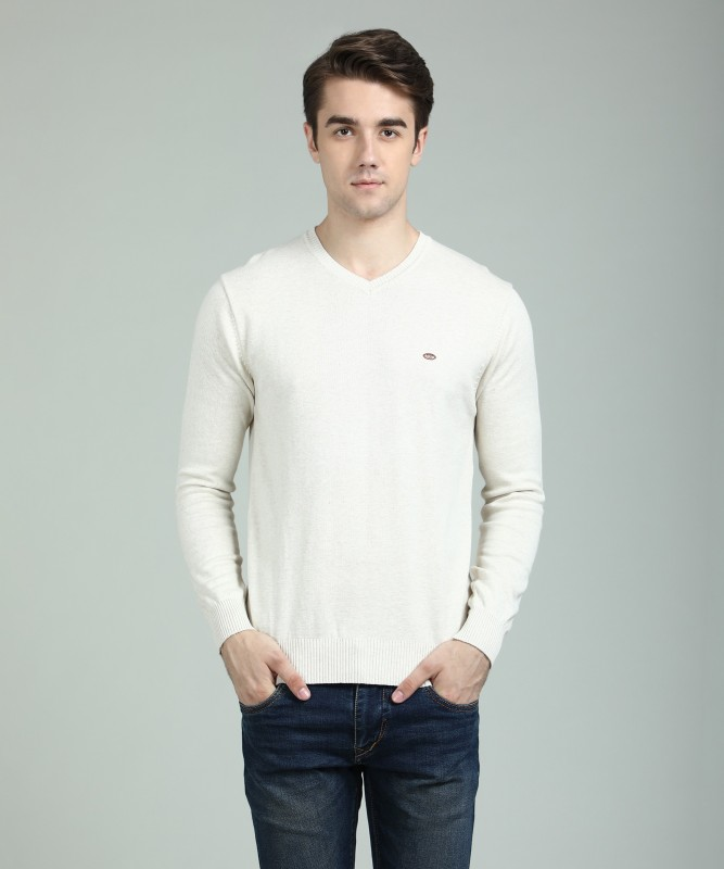 Numero Uno Solid V-neck Casual Mens Beige Sweater