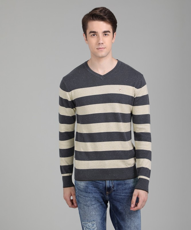 Numero Uno Striped V-neck Casual Mens Beige, Grey Sweater